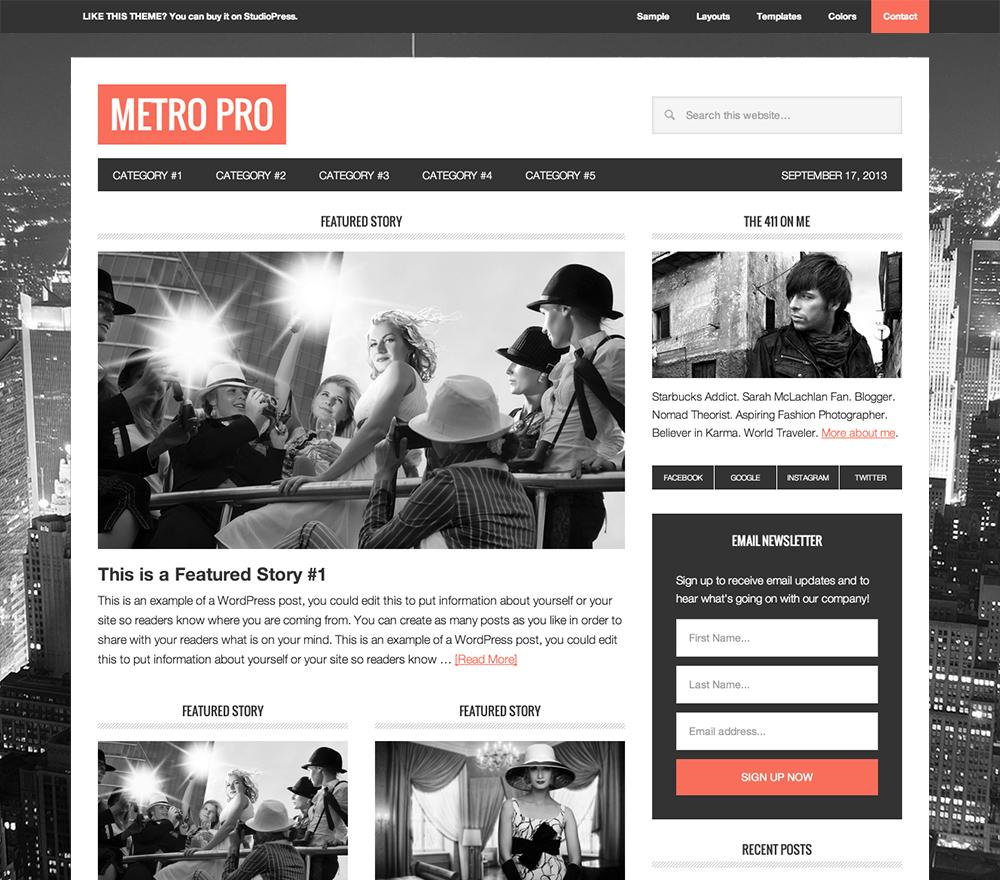 Metro Theme for Food Blogs
