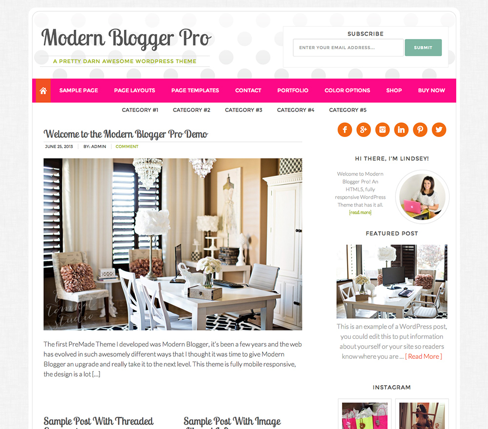 Modern Blogger Pro Theme for WordPress Food Bloggers