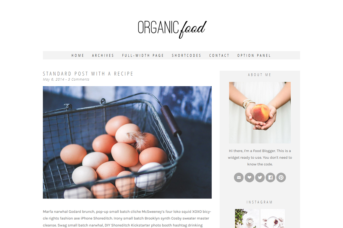 Organic Food for a WordPress Theme for a Food Blog