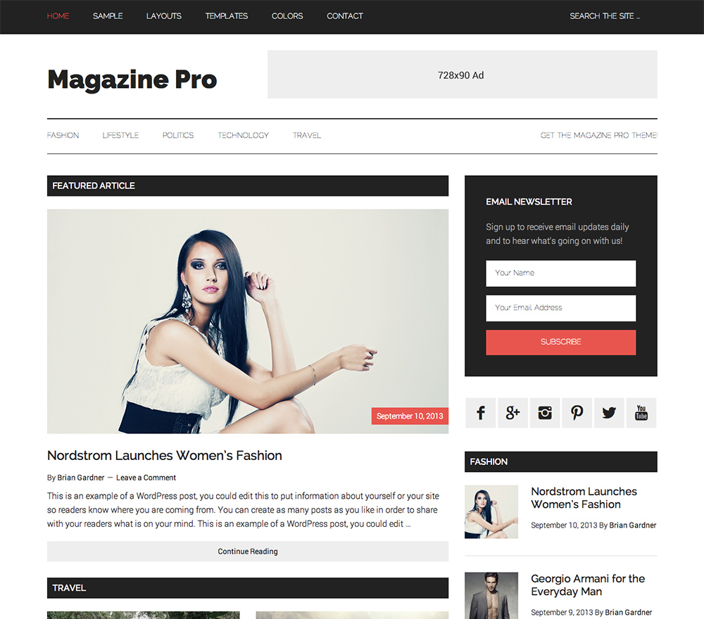 Magazine Pro for a WordPress Theme for a Food Blog