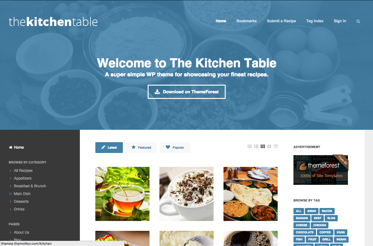 The Kitchen Table Theme for WordPress Food Blogs