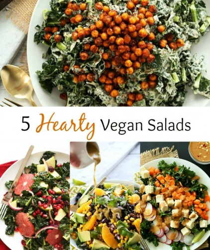 Photos of various salad recipes for our 5 Hearty Vegan Salads roundup
