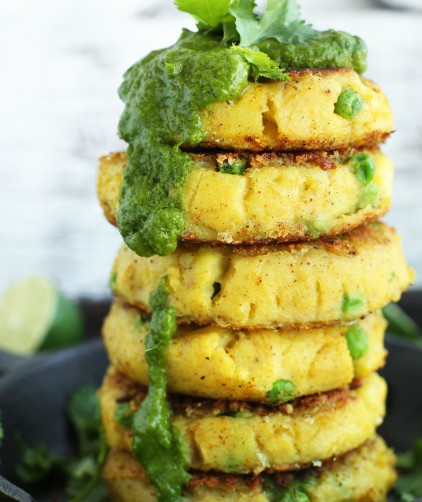 Stack of our Samosa-Inspired Potato Cakes with Chutney for a vegan gluten-free meal