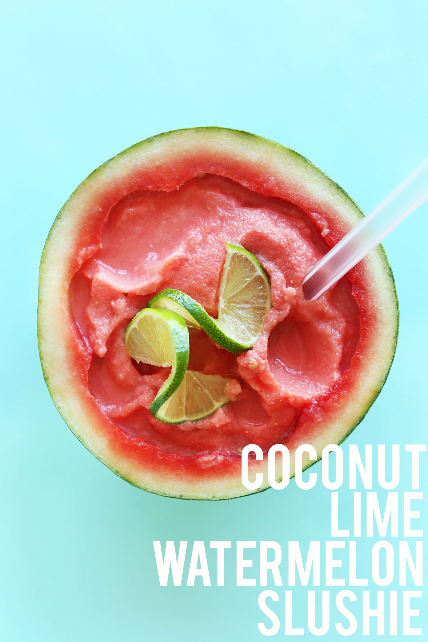 Coconut Lime Watermelon Slushie recipe in a halved watermelon