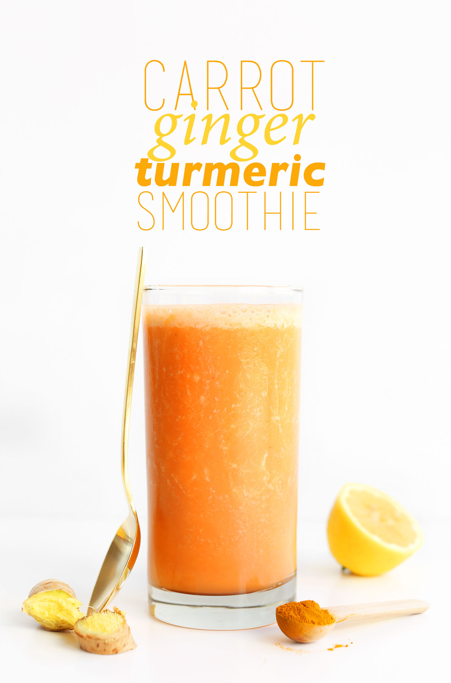 Glass of our immune-boosting vegan Carrot Ginger Turmeric Smoothie