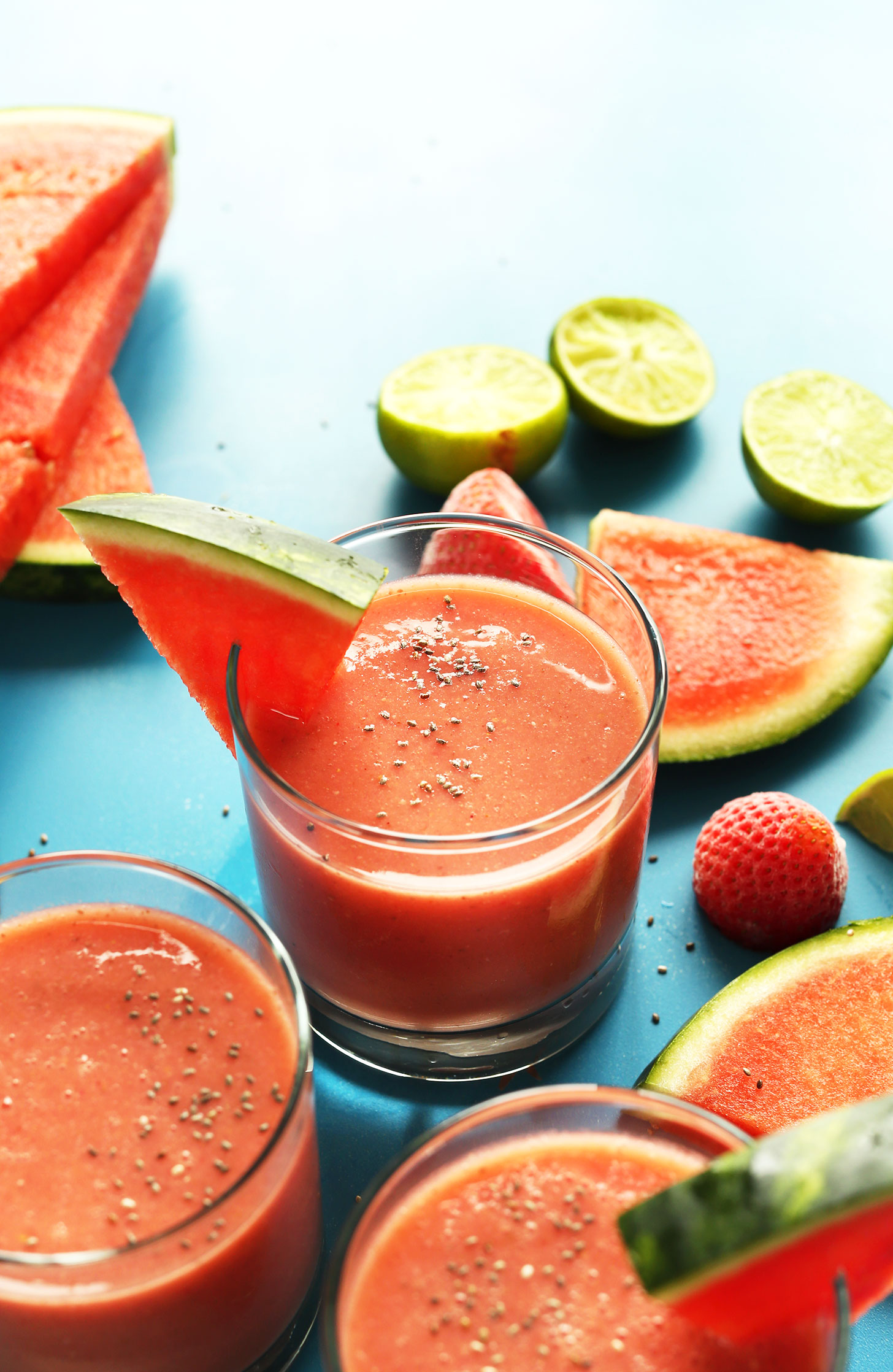 Glasses of our Watermelon Strawberry Smoothie for a hydrating and refreshing summer recipe