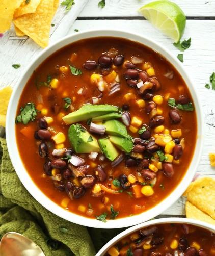 Bowl of healthy vegan Mexican Chipotle Black Bean Tortilla Soup