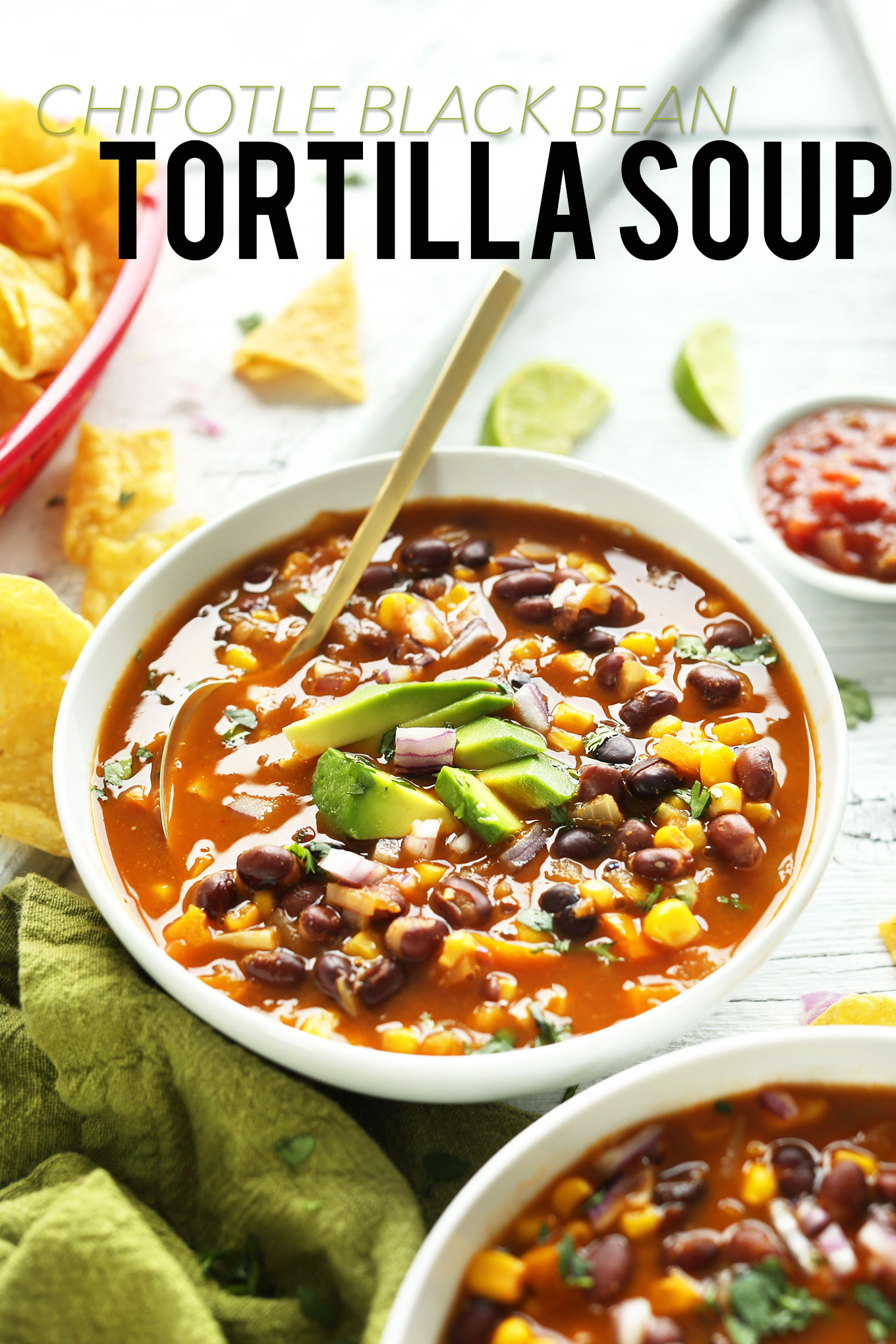 Close up shot of a bowl of our simple and healthy Chipotle Black Bean Tortilla Soup
