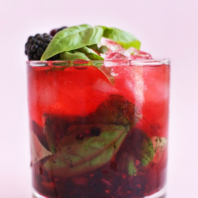 Glass of our Blackberry Basil Mojito recipe