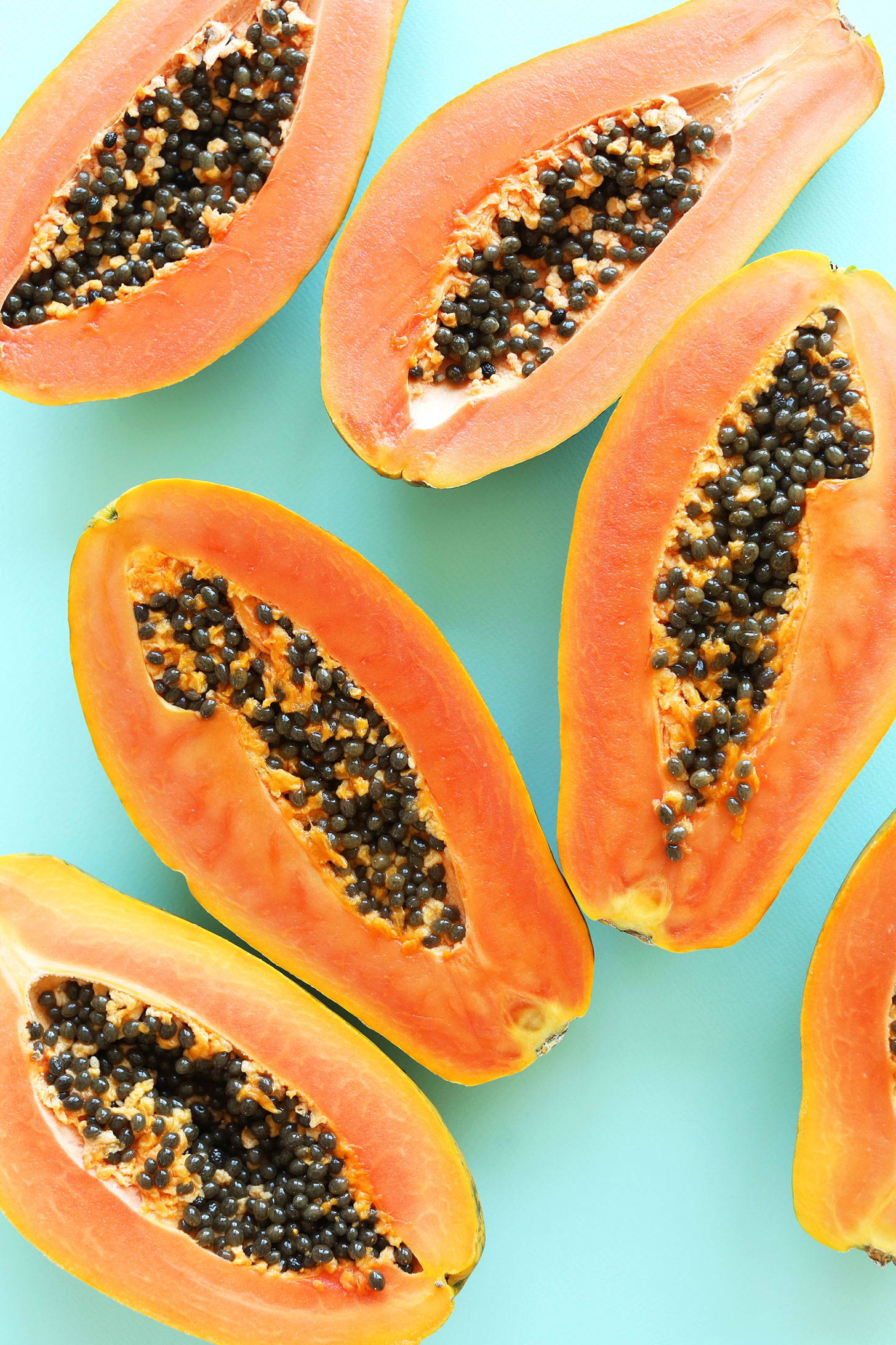 Halved papayas for making easy Papaya Boats
