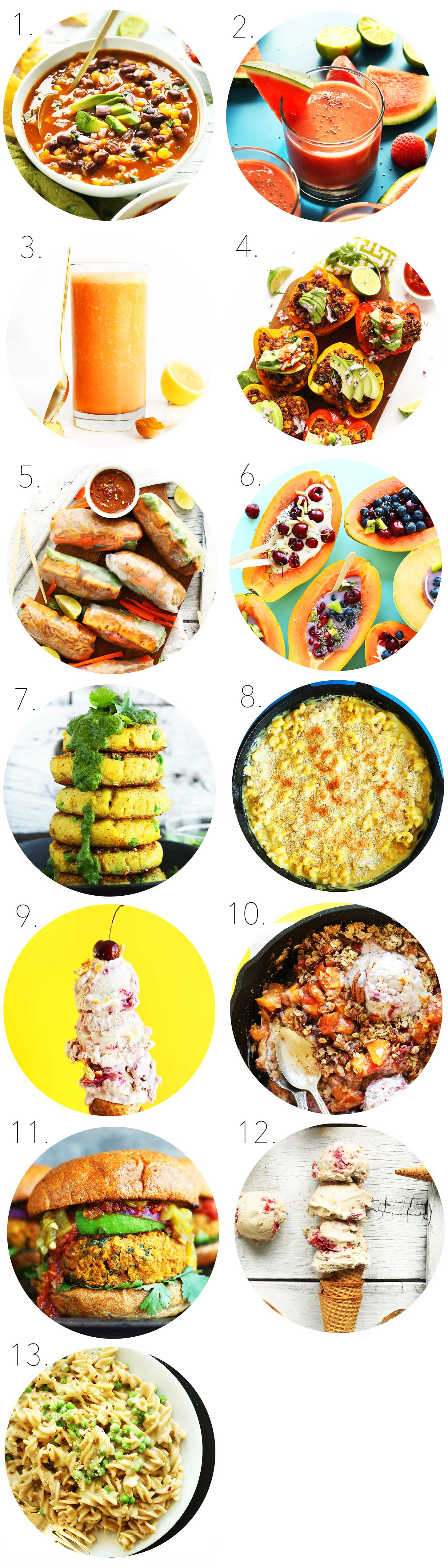 Collection of food photos for our June Recipe Roundup