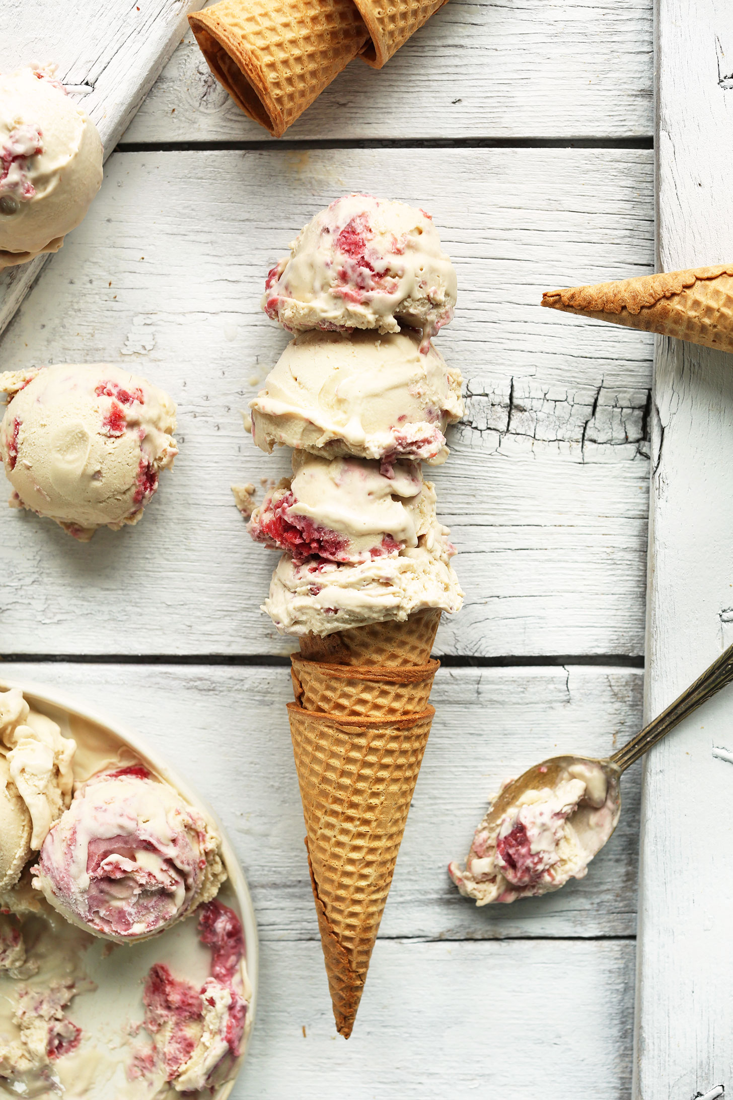 Quadruple scoop of our vegan Raspberry Swirl Coconut Ice Cream recipe