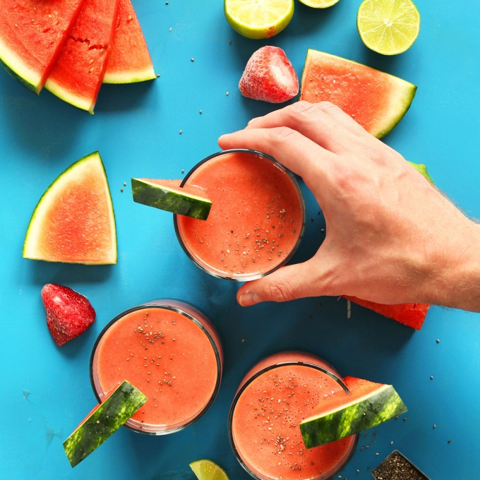 Grabbing a refreshing summer breakfast of our Watermelon Smoothie