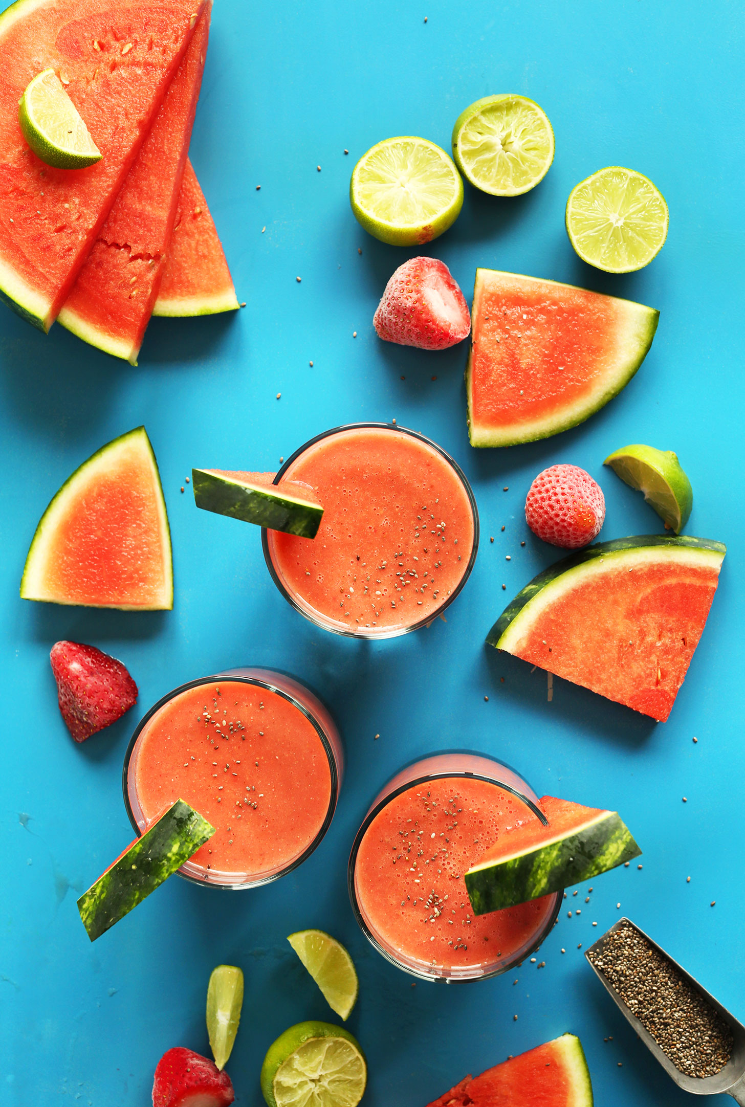 Glasses of our refreshing Watermelon Smoothie for a healthy gluten-free vegan snack