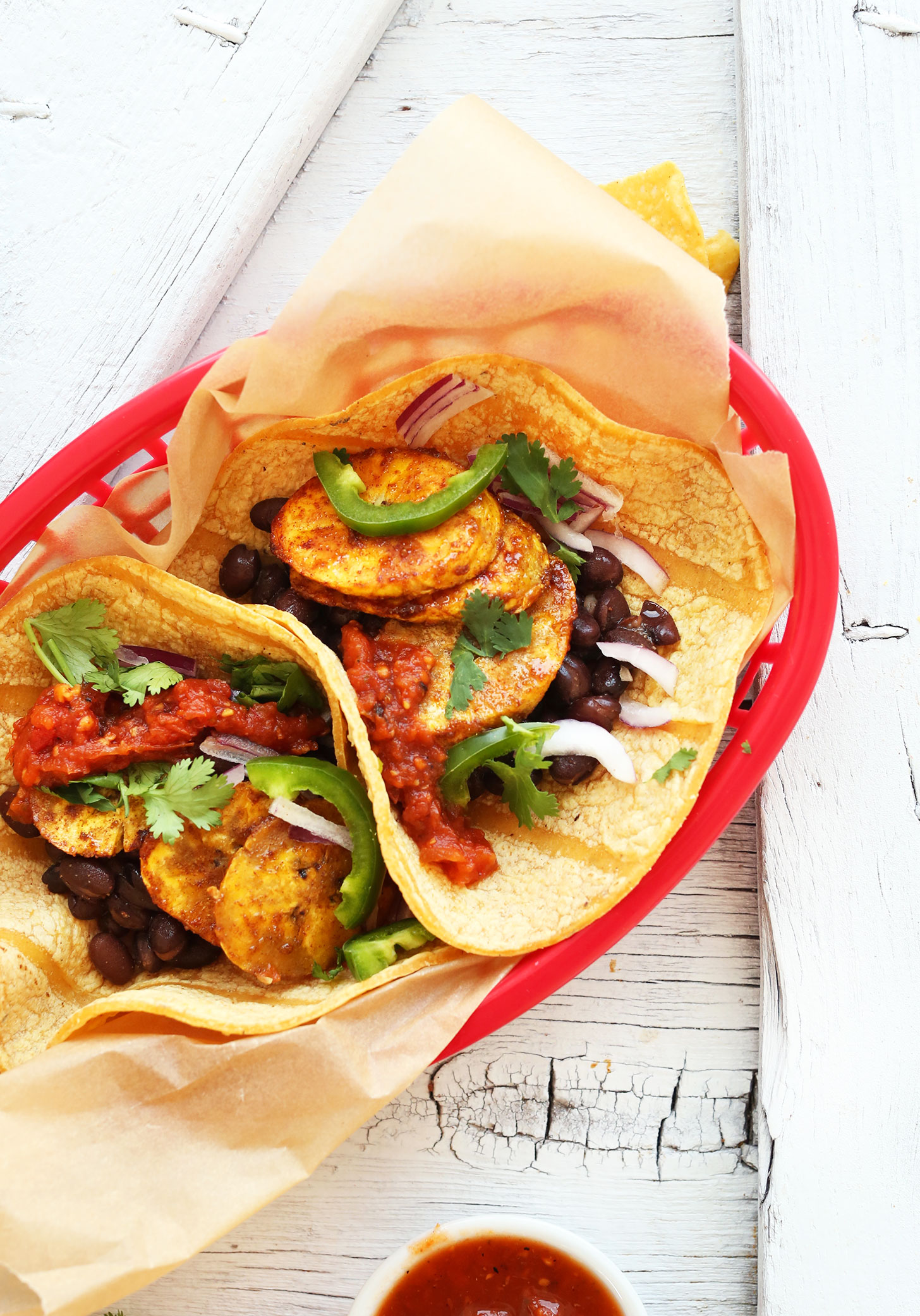Gluten-free vegan Spicy Plantain Black Bean Tacos for a healthy dinner