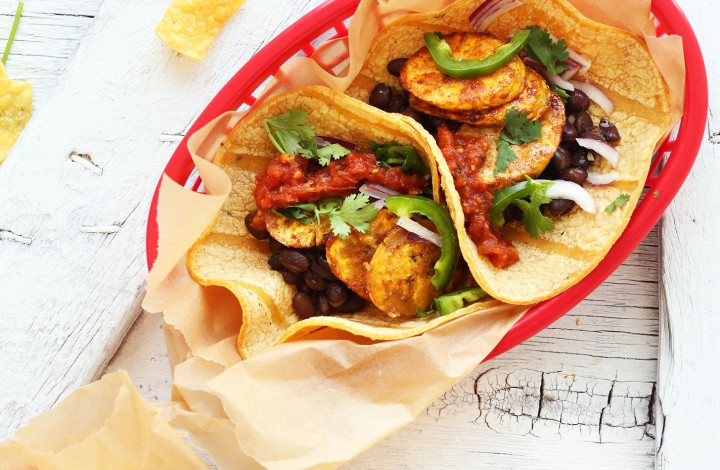 Tray of Spicy Plantain Black Bean Tacos for a healthy plant-based meal