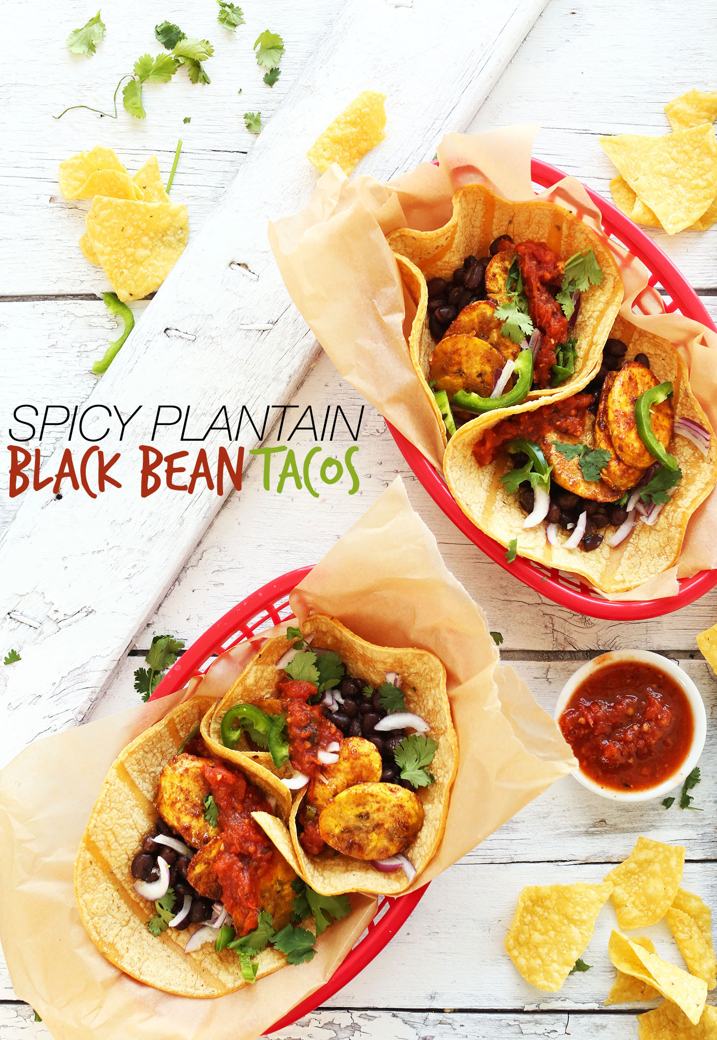 Trays of our Spicy Plantain Black Bean Tacos with a side of salsa