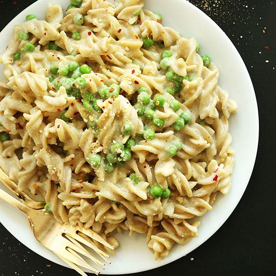 Big plate of simple and delicious Vegan Alfredo Pasta