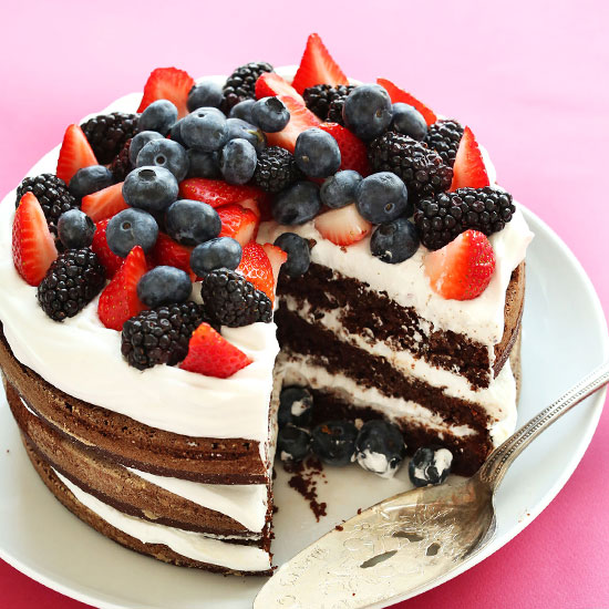 Triple Layer Vegan Gluten Free Chocolate Cake Topped With Fresh Berries