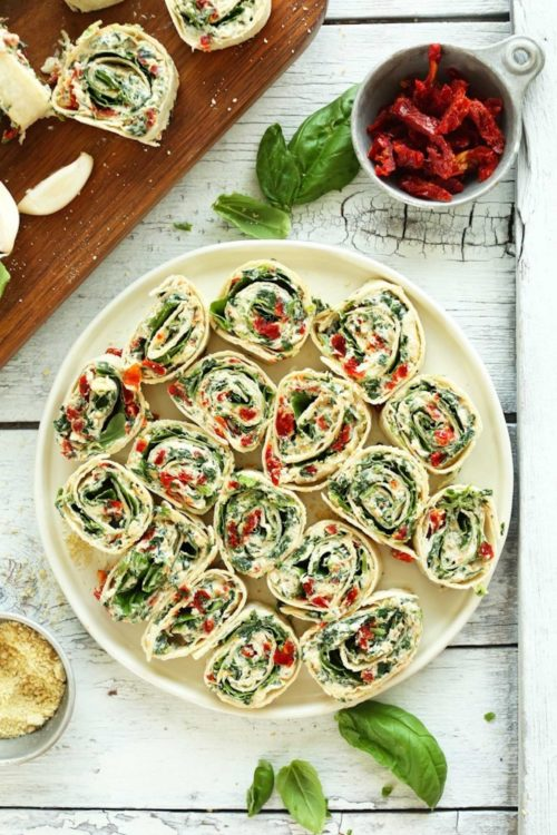 Plate of Sun-Dried Tomato and Basil Pinwheels for a delicious vegan snack
