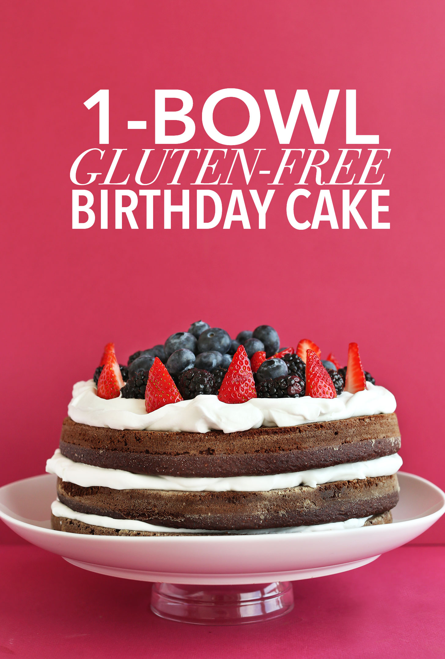 Amazing gluten-free vegan summer birthday cake resting on a cake stand