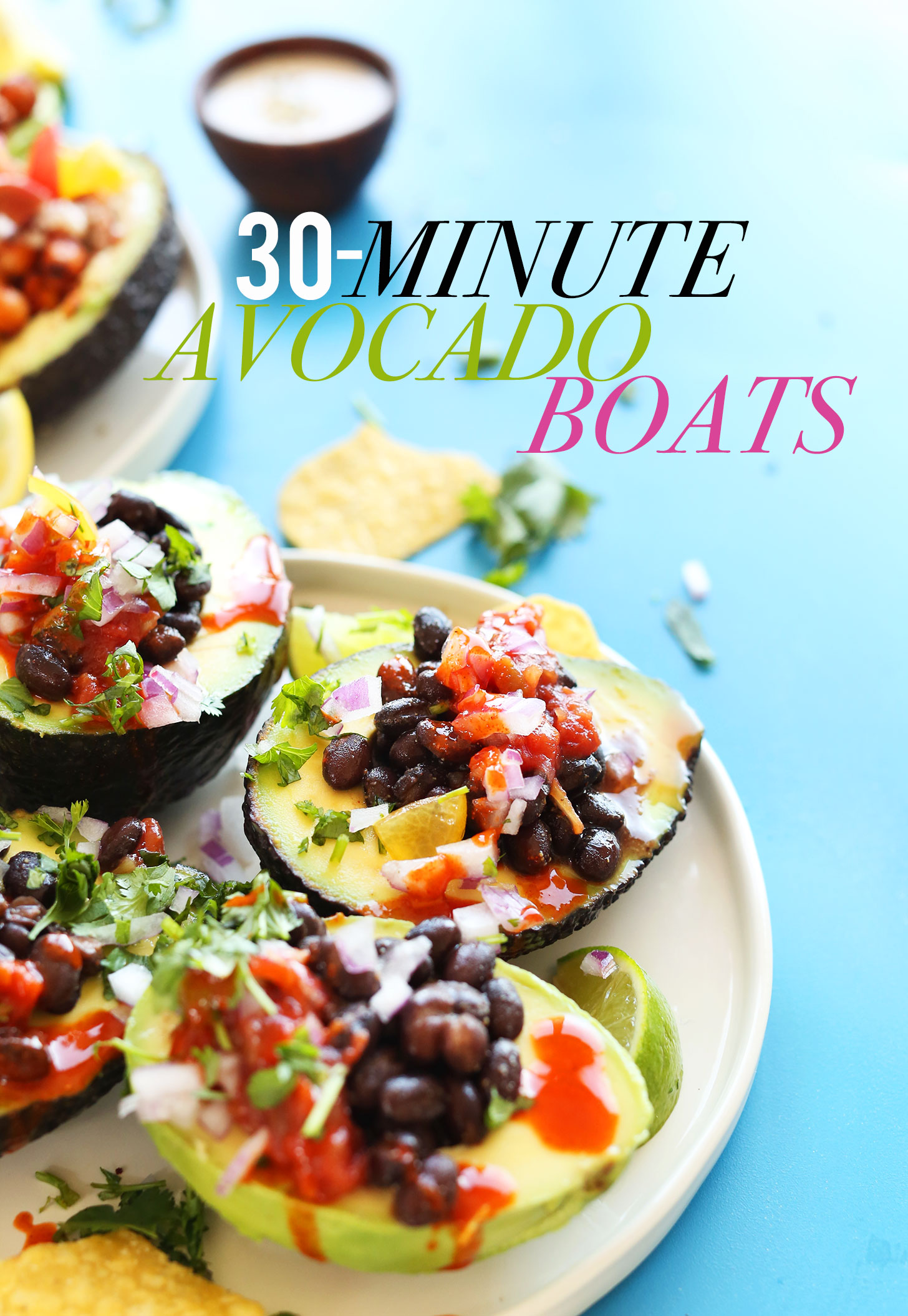 Plate of our Mexican-inspired avocado boats for a simple gluten-free plant-based meal