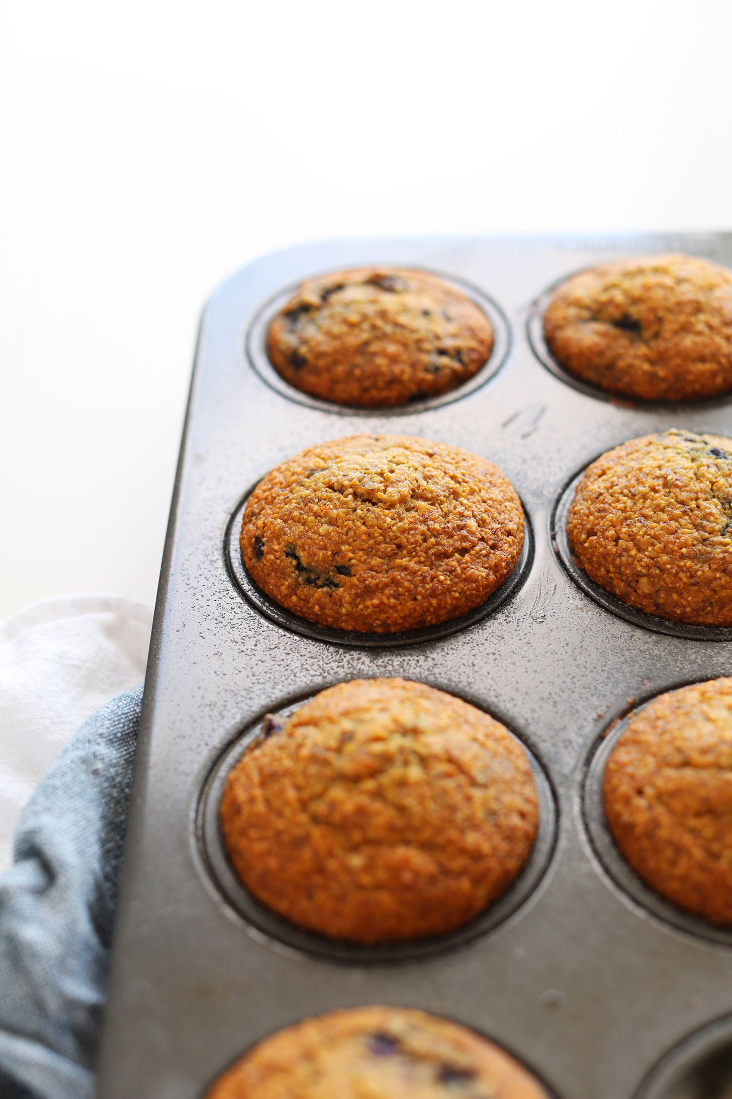 A batch of our Blackberry Cornmeal Muffins fresh out of the oven for a vegan snack