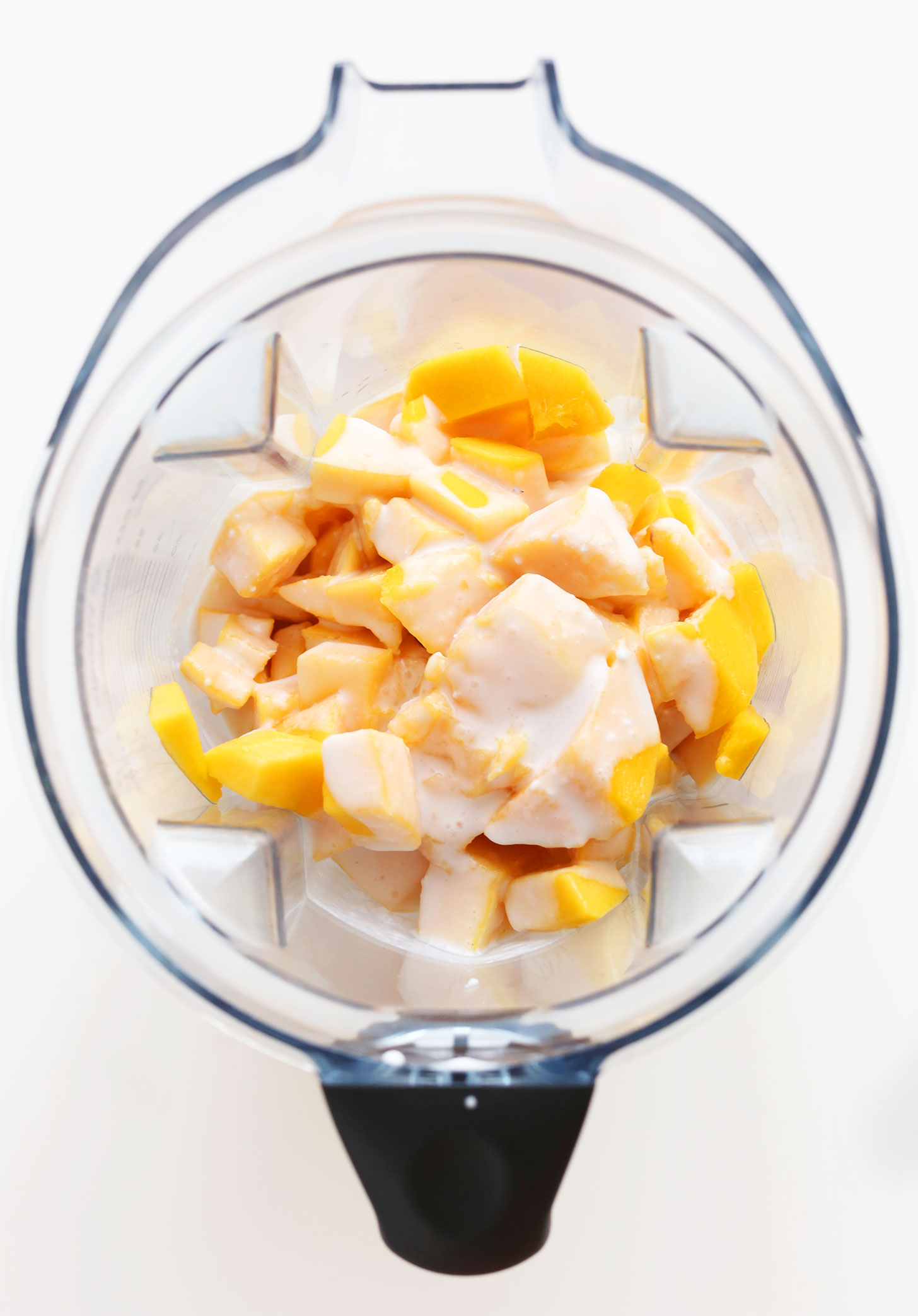 Blender with ingredients for making homemade Mango Raspberry Coconut Sorbet