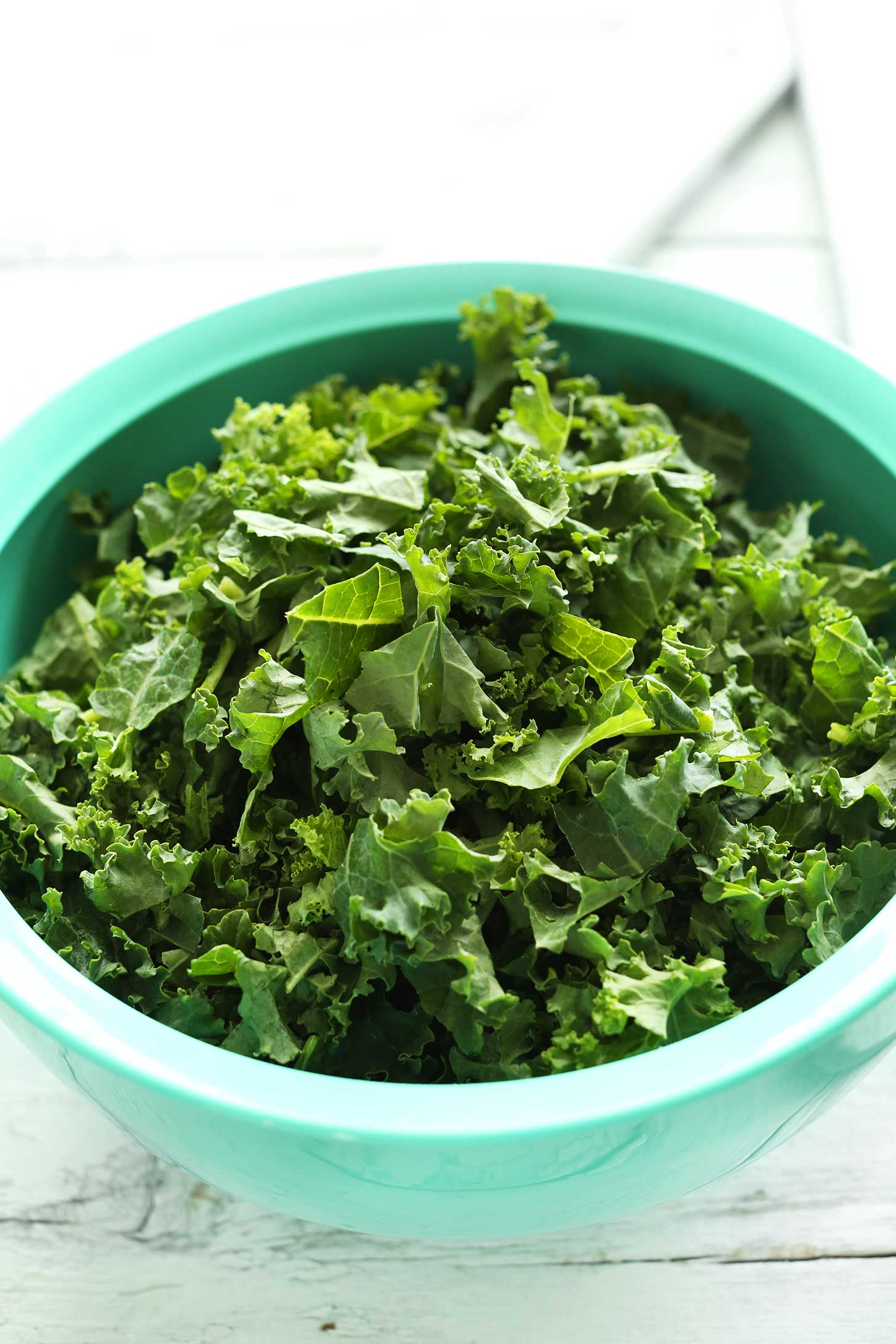 Big bowl of kale ready to be made into delicious vegan kale chips
