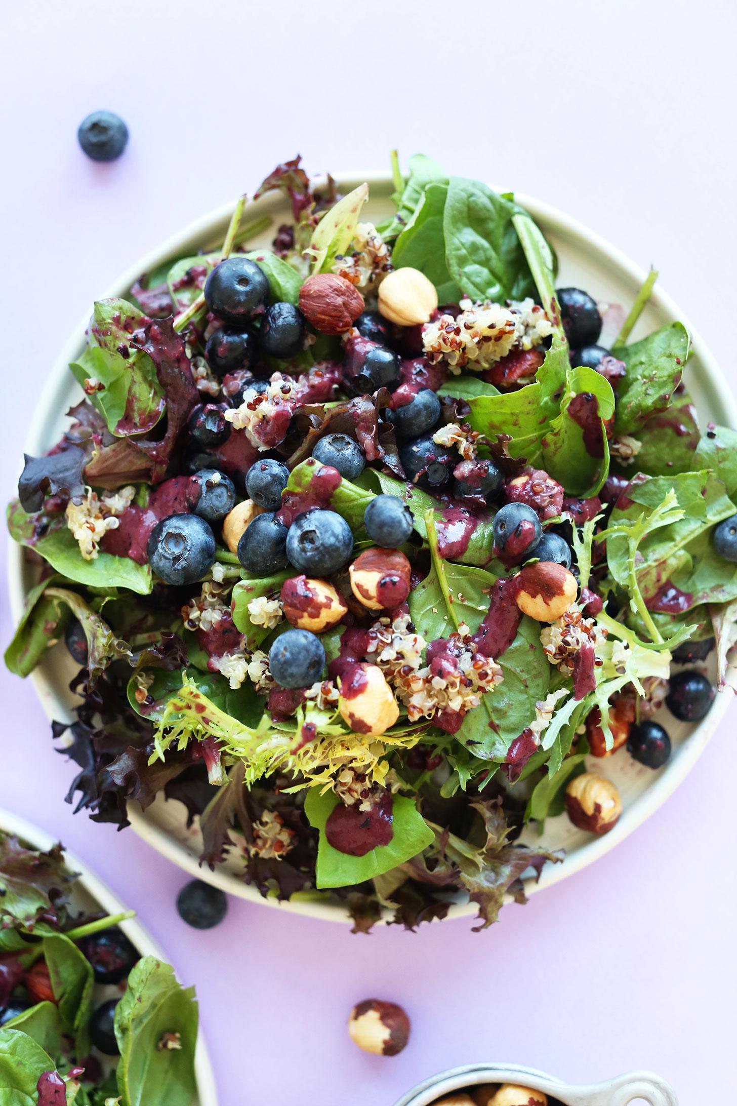 HEALTHY Blueberry Quinoa Hazelnut Salad with a Blueberry Balsamic Vinaigrette! #recipe #healthy #dinner #salad #blueberry #summer #glutenfree #vegan #minimalistbaker