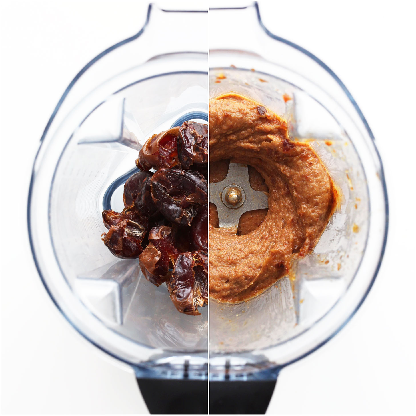 Side-by-side shot of fresh dates and date caramel in a blender
