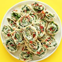 Large plate of Sun-dried Tomato and Basil Pinwheels