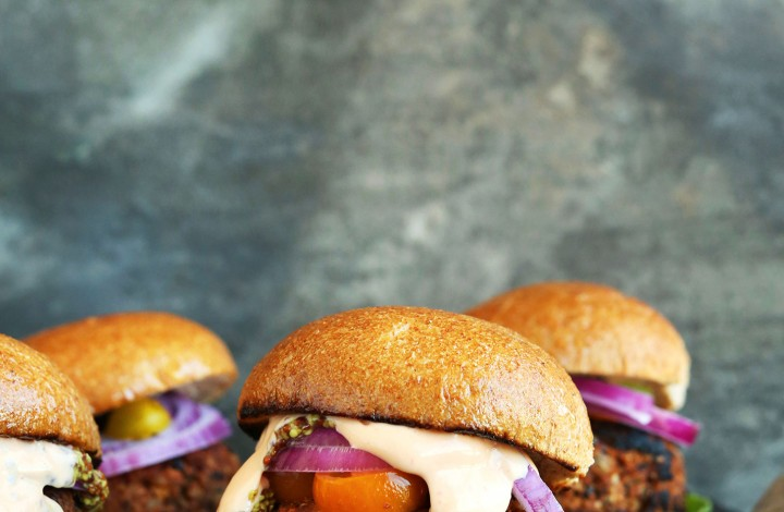 Collection of grilled Veggie Burgers for a healthy vegan summertime recipe