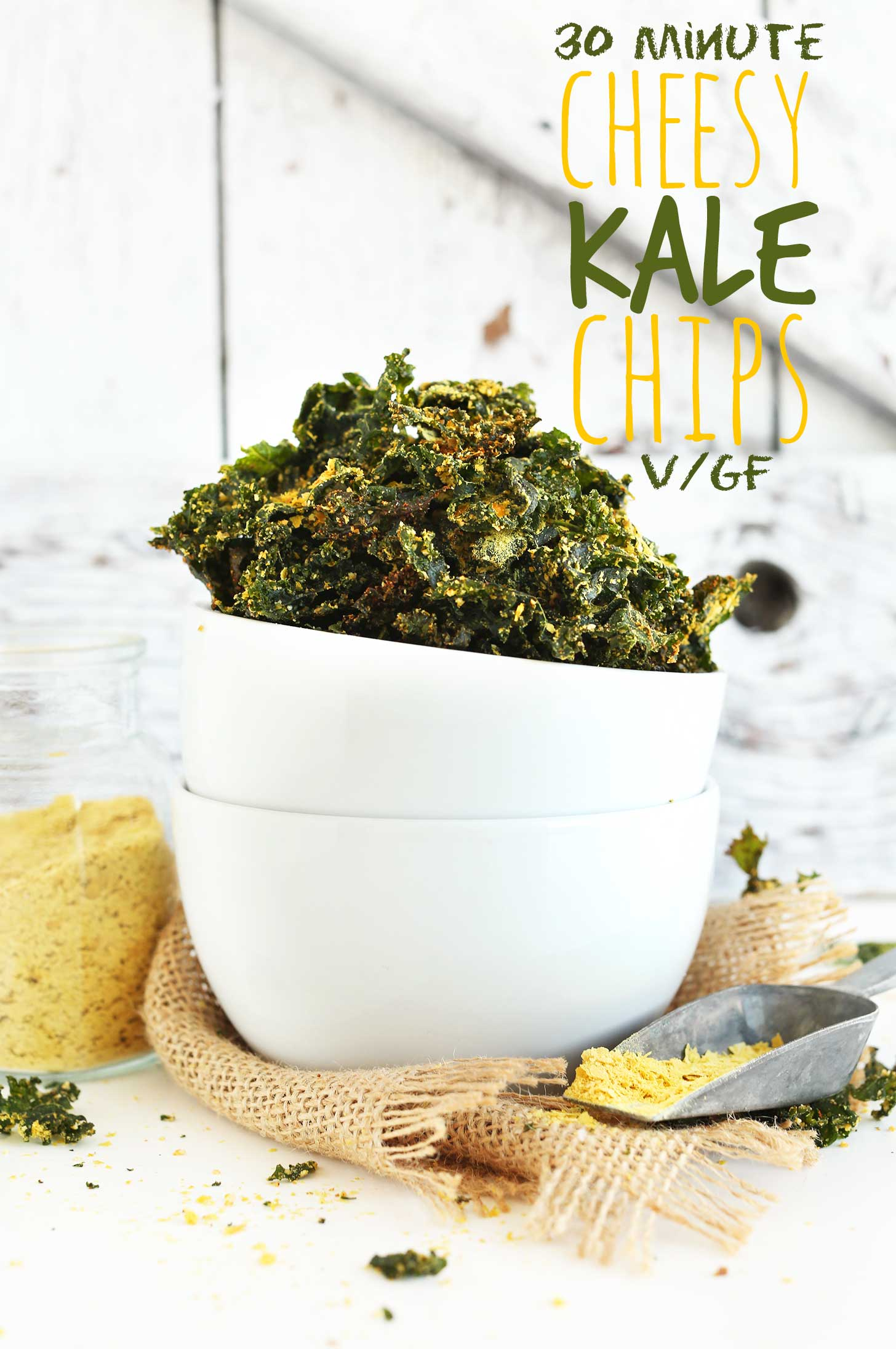 Bowl of delicious gluten-free vegan Cheesy Kale Chips