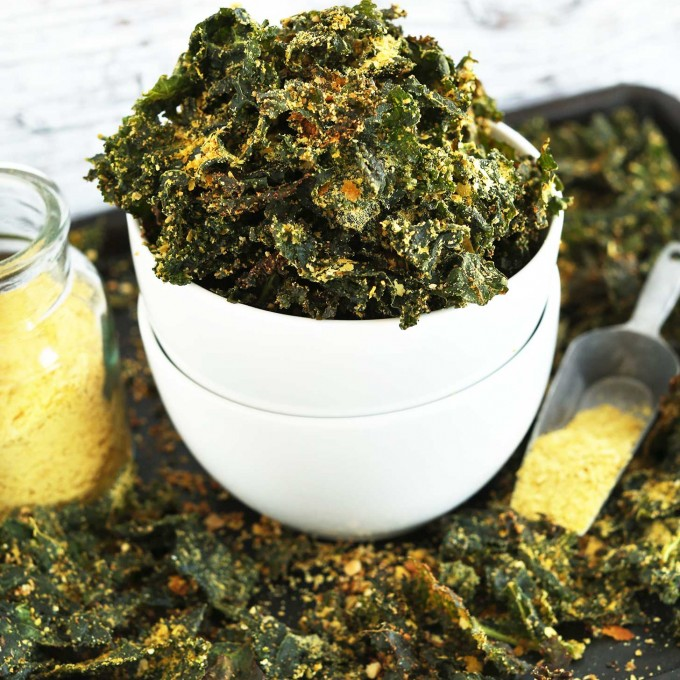Batch of our Vegan Cheesy Kale Chips recipe for a healthy snack