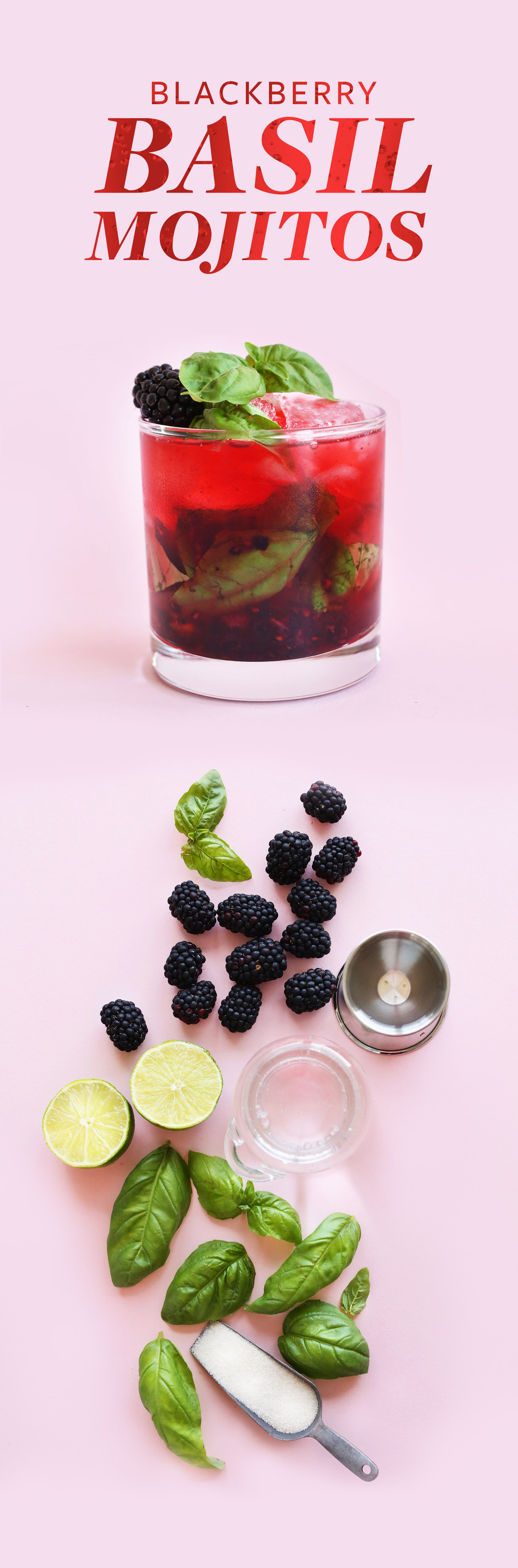 Glass of Blackberry Basil Mojito and ingredients used to make it