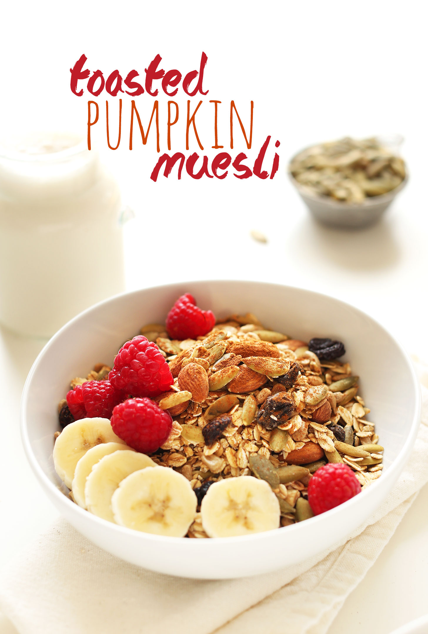 Bowl of Toasted Pumpkin Muesli for a healthy vegan snack