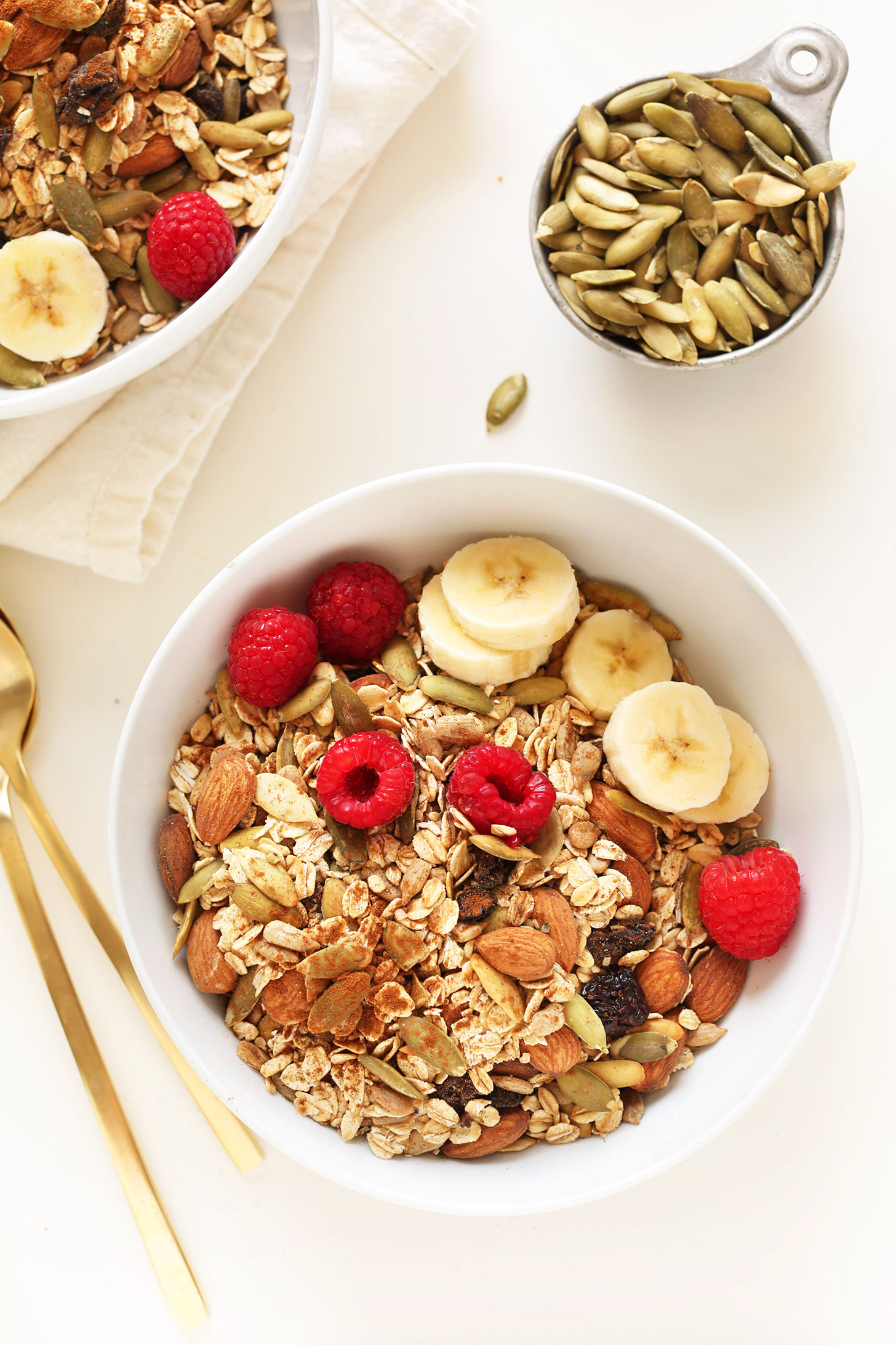 Bowl of our quick and easy muesli recipe for a gluten-free vegan breakfast