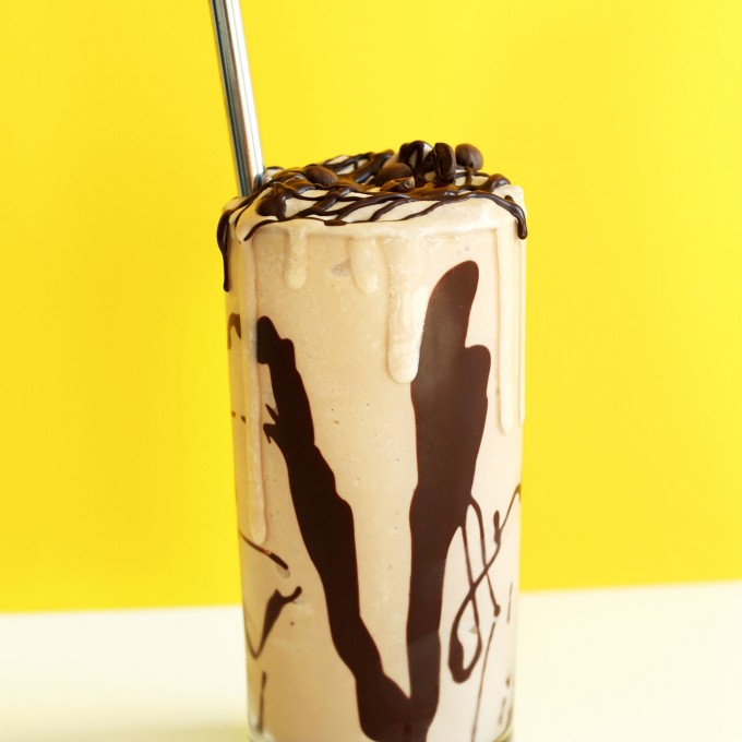 Glass of our delicious gluten-free vegan Mocha Milkshake