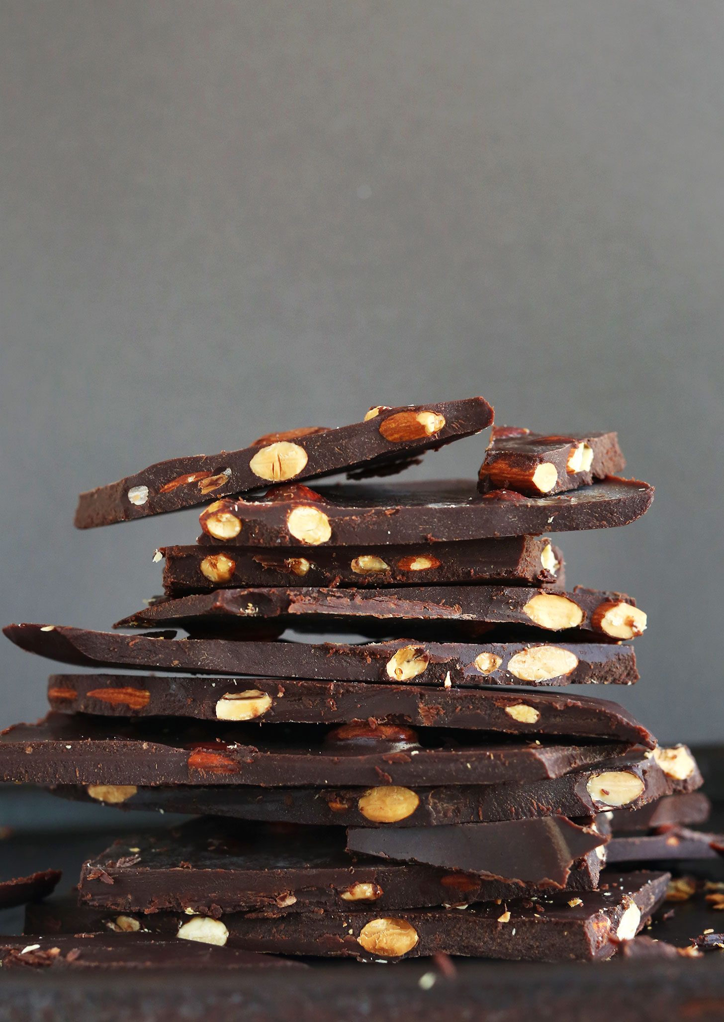 Stack of our DIY Vegan Dark Chocolate Bars with Almonds