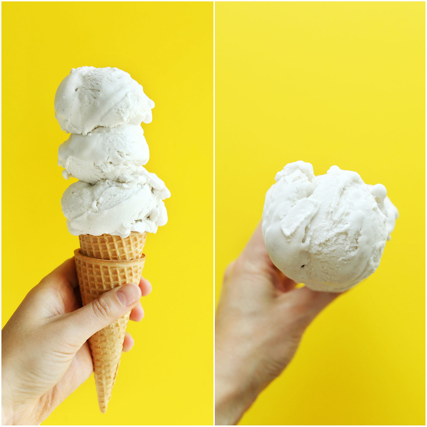 Holding up a cone topped with our vegan Vanilla Coconut Ice Cream recipe