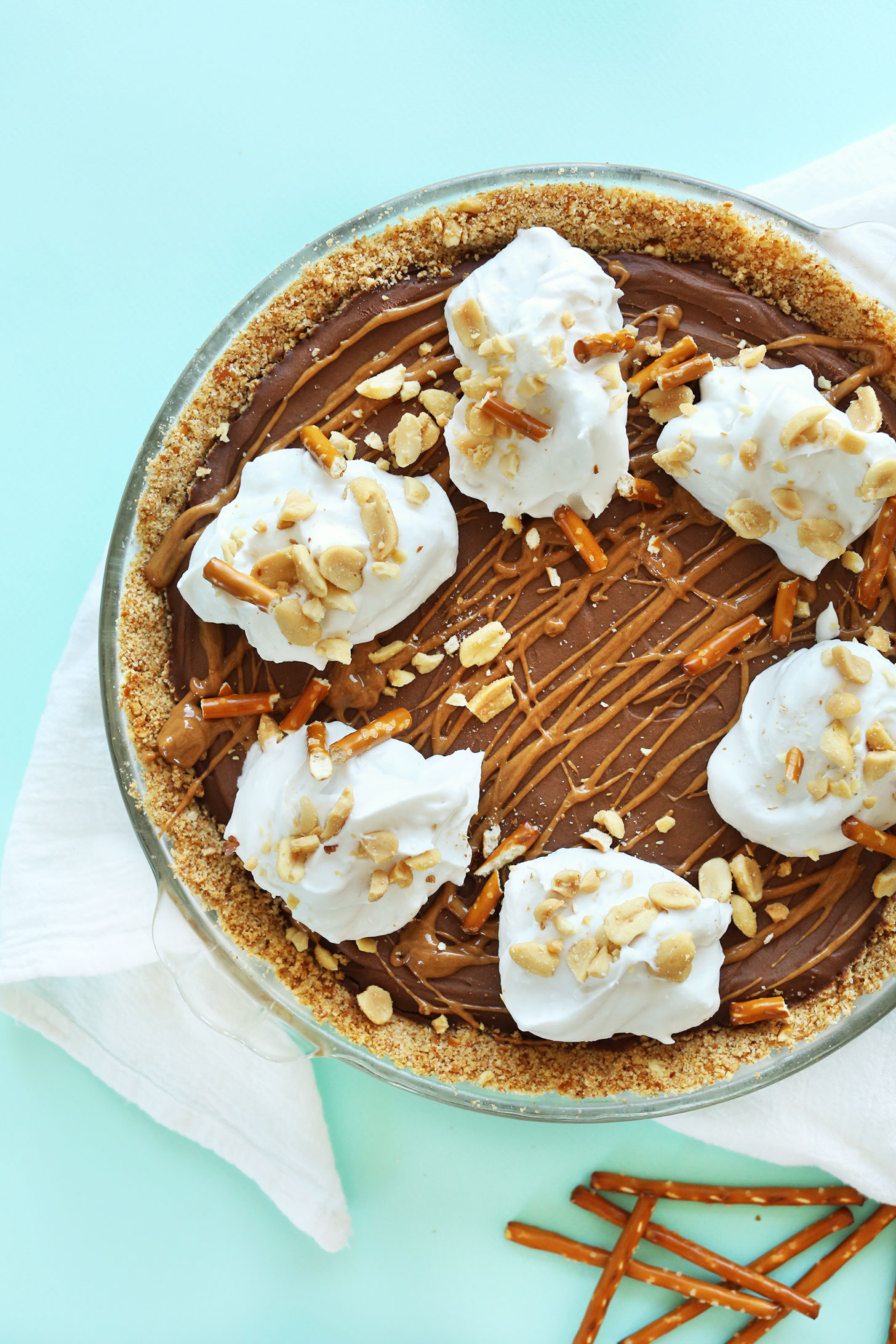 Pretzel Peanut Butter Chocolate Pie for a delicious vegan dessert recipe