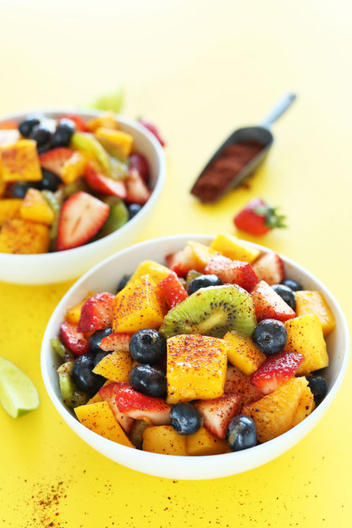 Amazing vegan summer side salad made with colorful fruit and a kick of heat