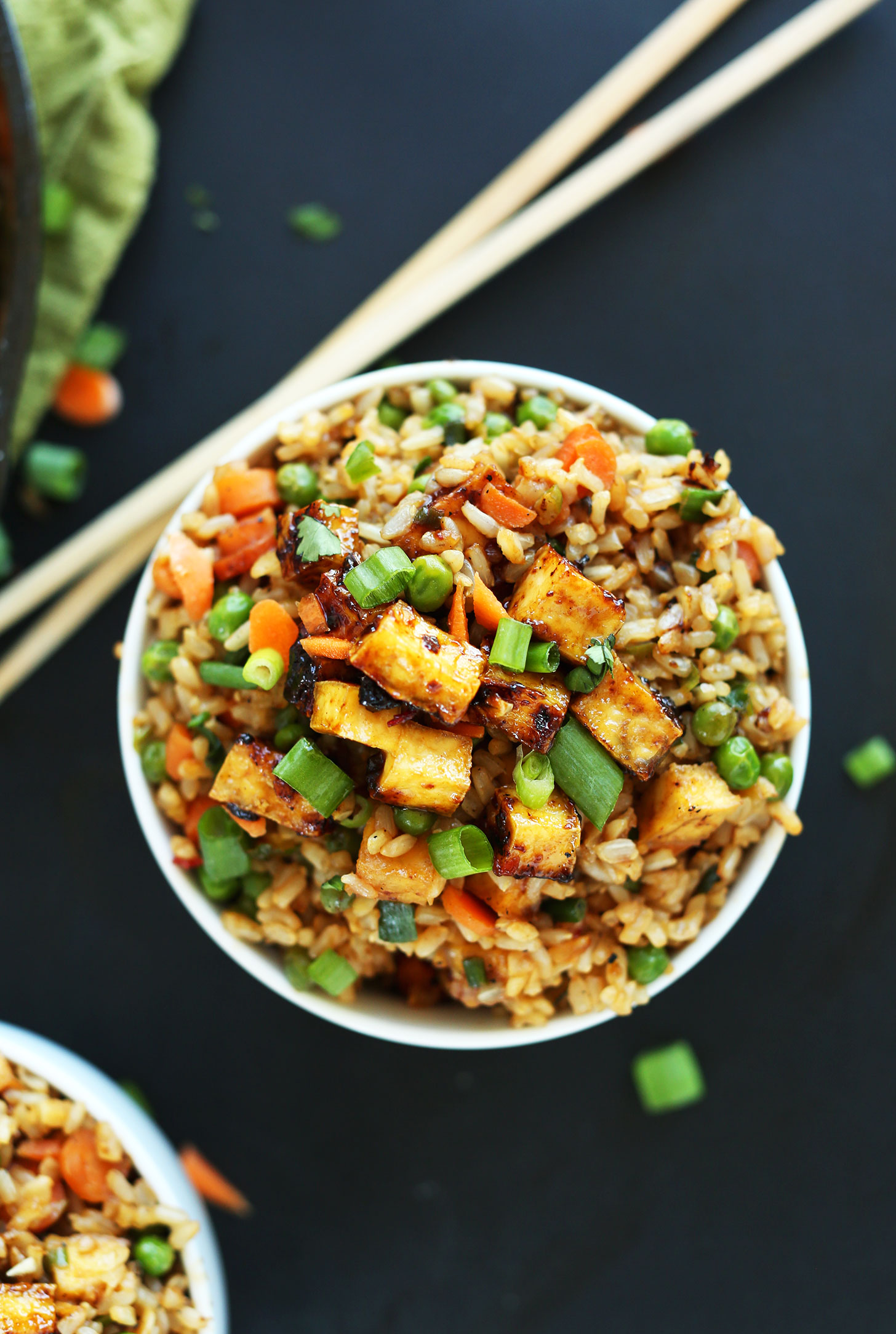 Close Up Shot Of A Bowl Our Gluten Free Vegan Fried Rice With Crispy