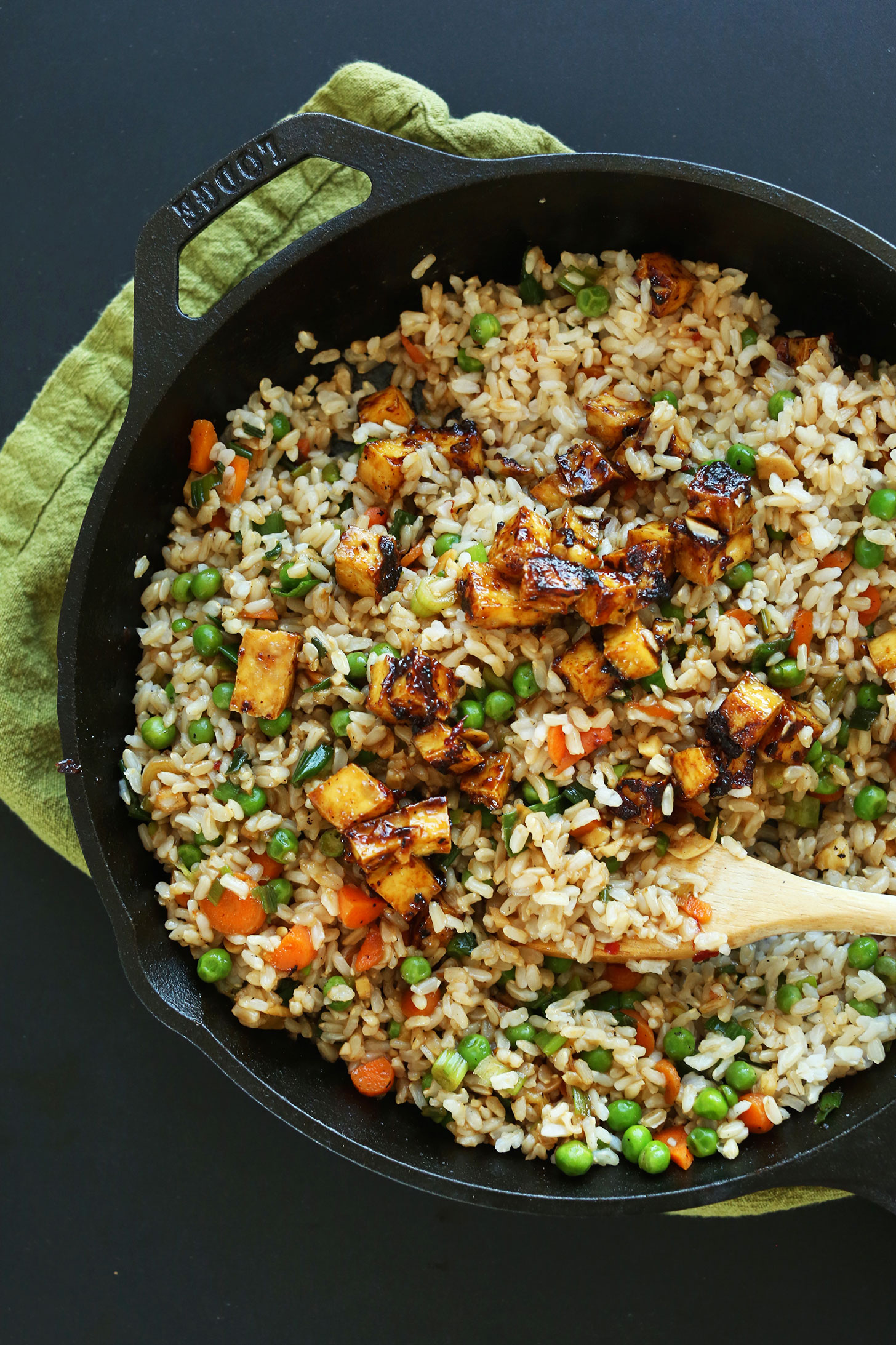 Vegan fried rice minimalist baker recipes big pan of our fried rice with crispy tofu for a healthy plant based meal ccuart Images