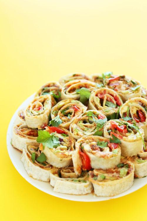 Vegan finger food snack of Mexican Pinwheels