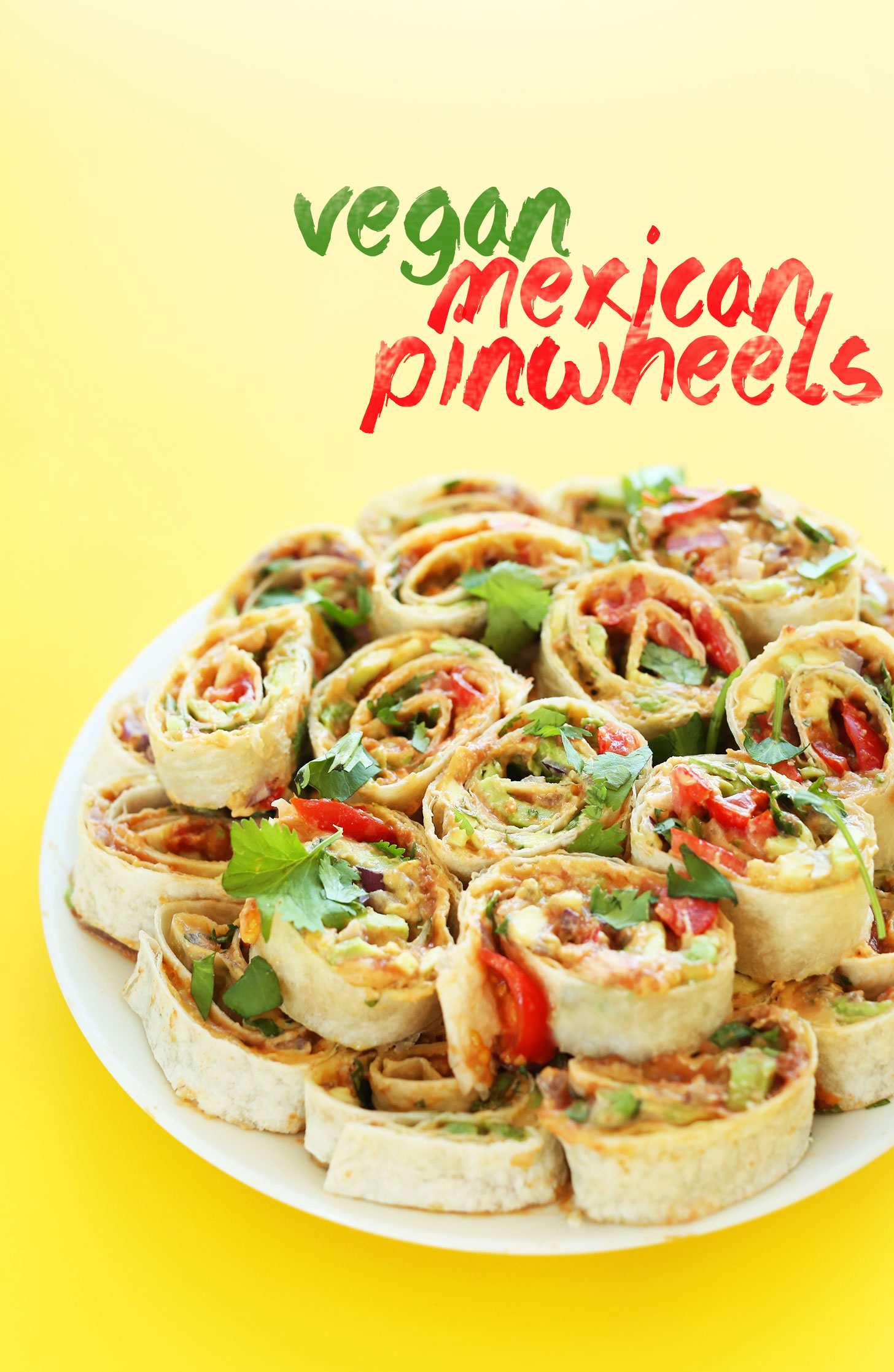 Plate of our Mexican Vegan Pinwheels recipe for a healthy vegan snack