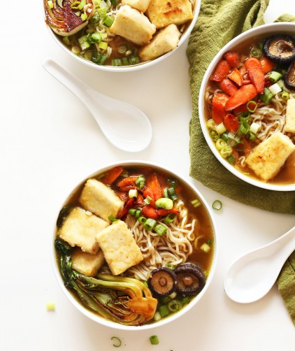 Dinner bowls filled with our vegan ramen recipe for a warm dinner meal