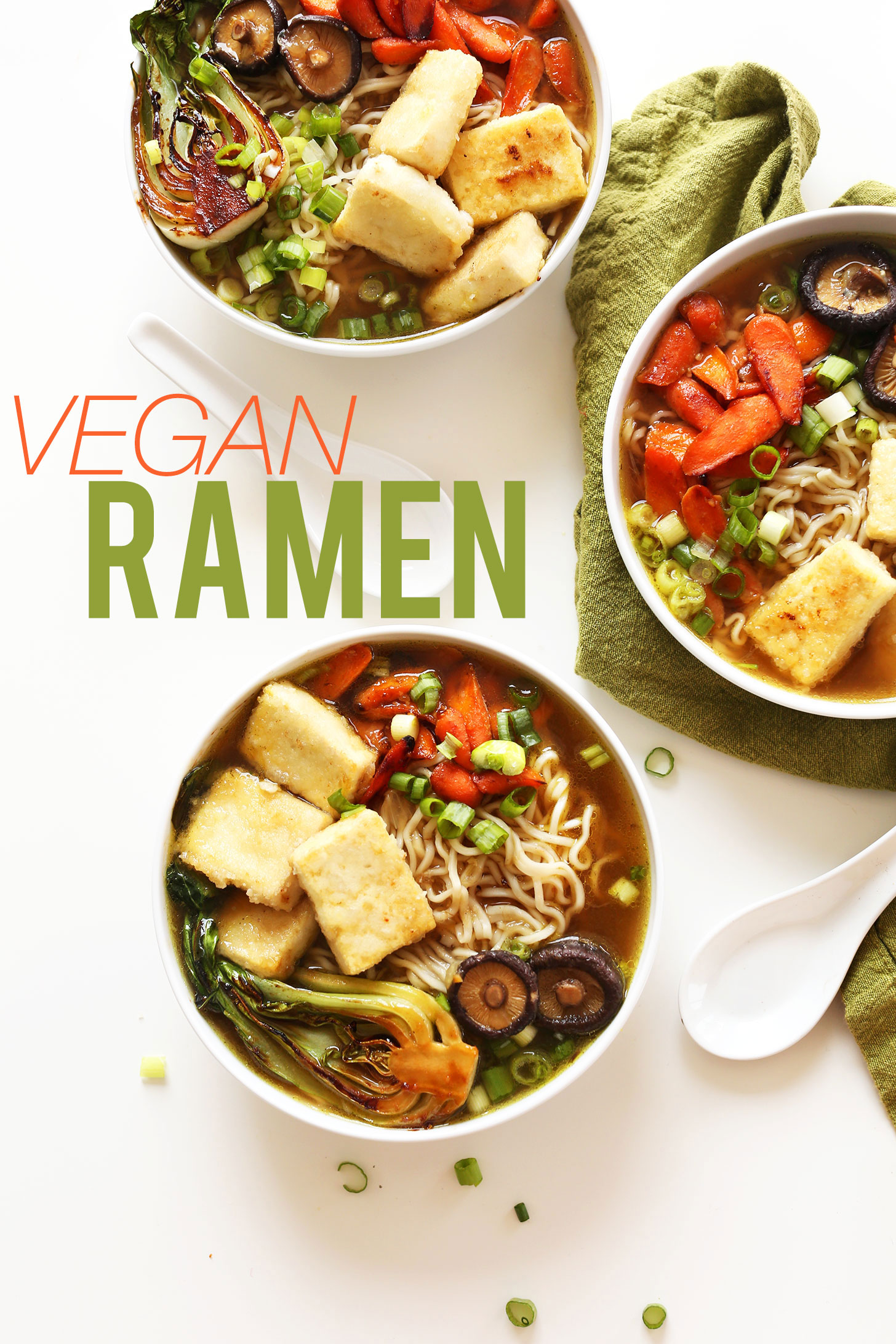 Bowls of our vegan ramen recipe for a warming plant-based dinner