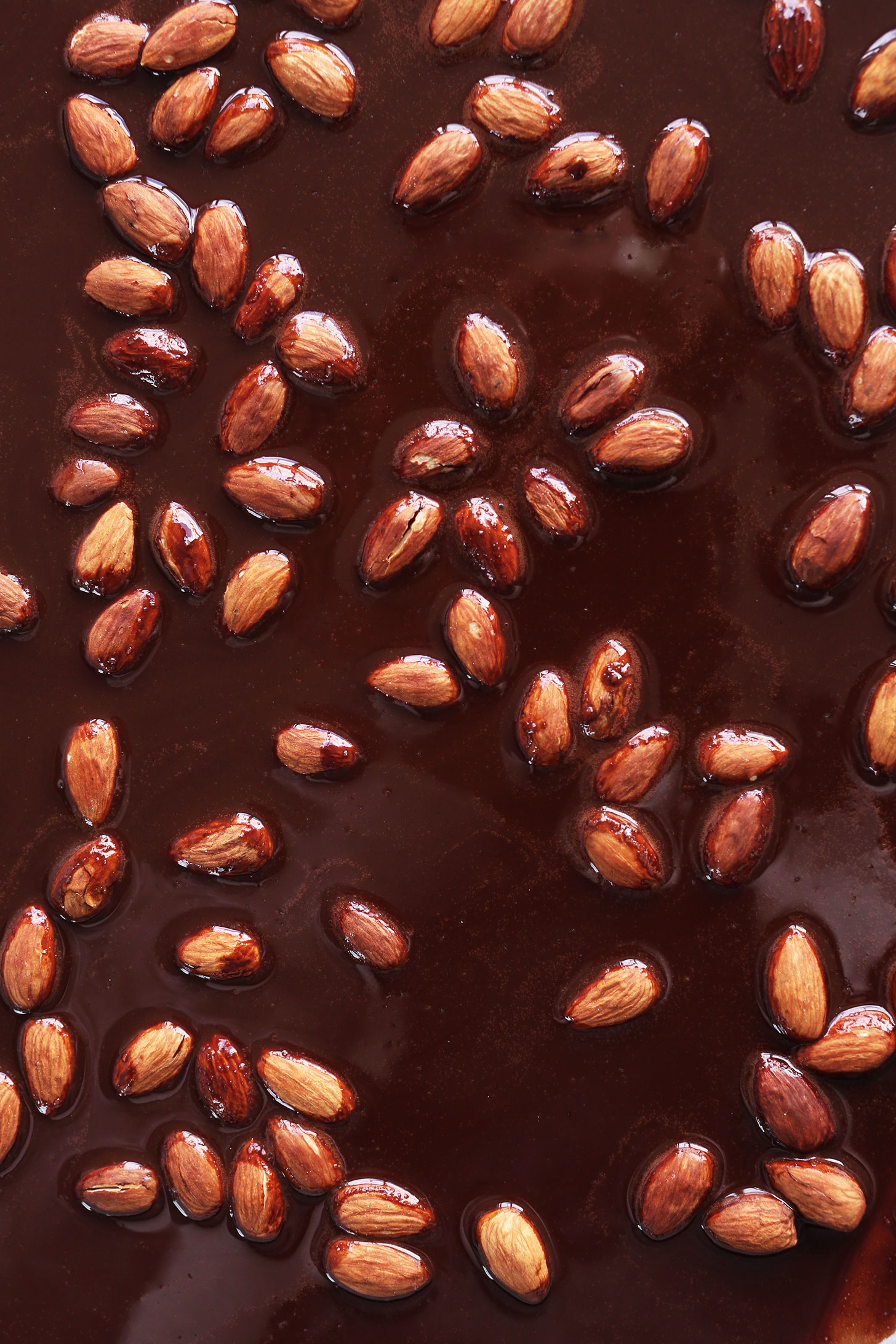 Pan of Almonds in Dark Chocolate for homemade Dark Chocolate Bars